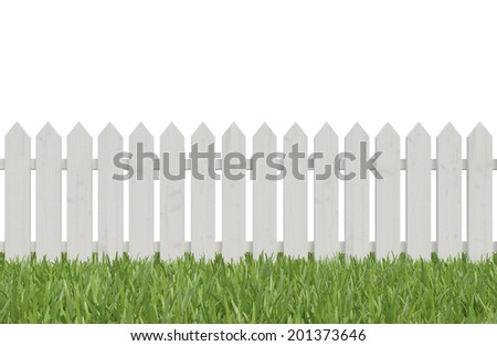 White wooden fence on the green summer grass isolated on white background