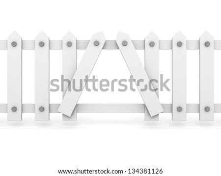 White wooden fence with hole on white background - stock photo