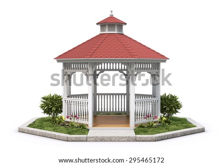 White Wooden Gazebo With The Plant On Background