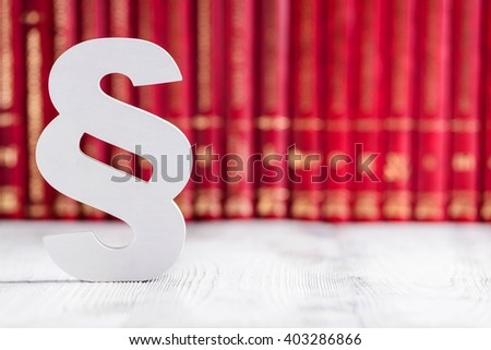 White wooden paragraph the symbol of law  - stock photo