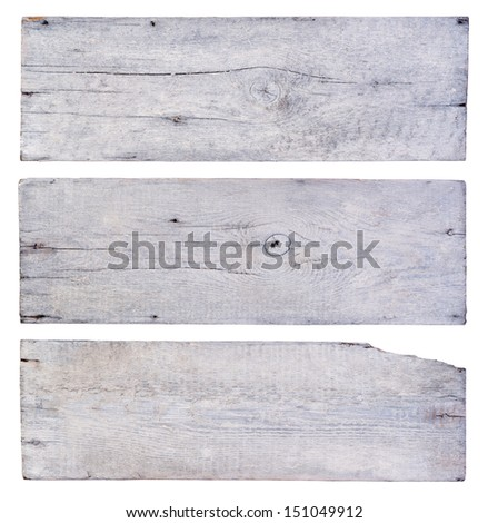 White wooden planks isolated on white background - stock photo