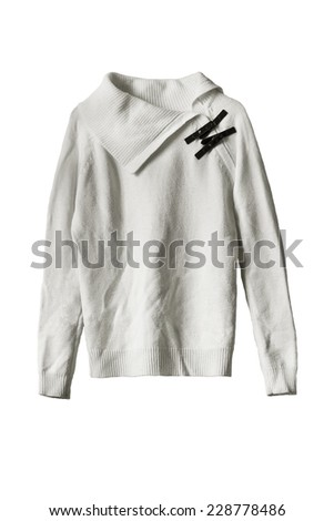 White wool sweater isolated over white - stock photo