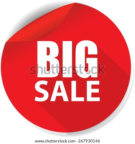 White Word Big Sale And Red Circle Sign, Icon, Label And Sticker Special Offer Symbol.  - stock photo