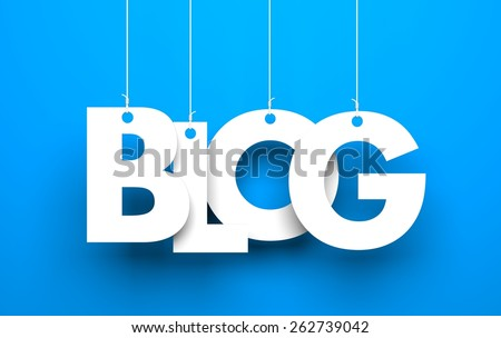 White word BLOG suspended by ropes on blue background - stock photo