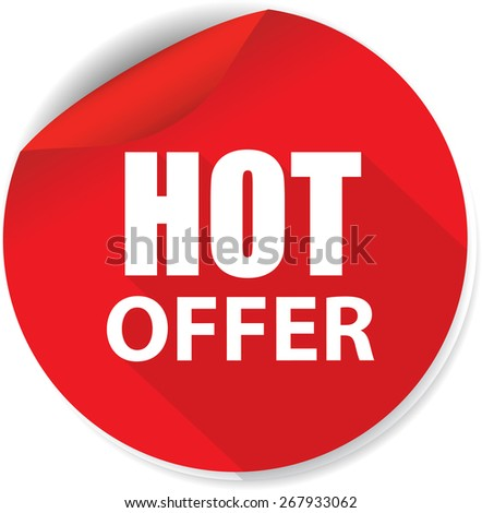 White Word Hot Offer And Red Circle Sign, Icon, Label And Sticker Special Offer Symbol.