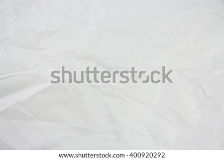 White wrinkled paper texture or background and copyspace - stock photo