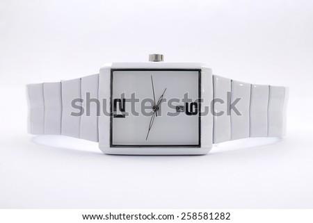 white wristwatch - stock photo