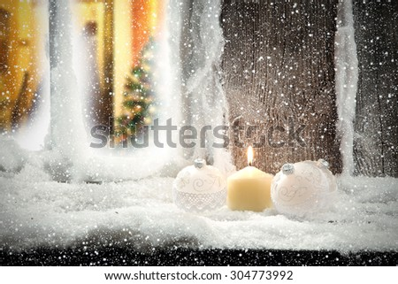 white xmas balls and window sill  - stock photo
