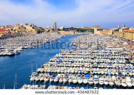 White yachts in the Old Vieux Port in the city center of Marseilles, France - stock photo