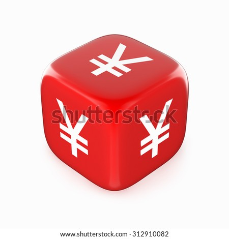 White yen (yuan) currency sign on red dice.  - stock photo