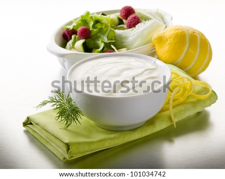 white yogurt dressing for salad, healthy food - stock photo
