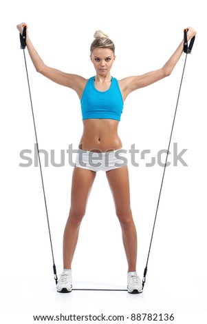 white young girl engaged in fitness training - stock photo