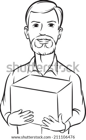 whiteboard drawing - bearded delivery man with box - stock photo