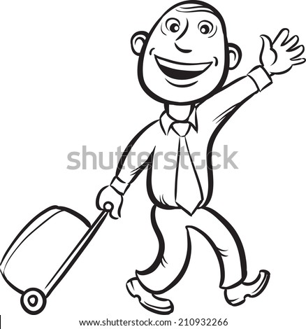 whiteboard drawing - businessman walking with luggage with wheels - stock photo