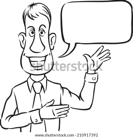 whiteboard drawing - businessman with speech bubble smiling and pointing