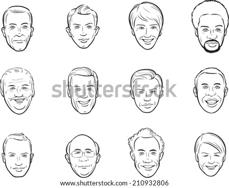 whiteboard drawing - cartoon avatar smiling men faces - stock photo