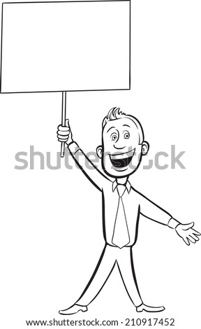 whiteboard drawing - cartoon cheerful businessman with blank placard