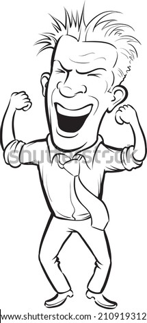 whiteboard drawing - cartoon cheering business person - stock photo