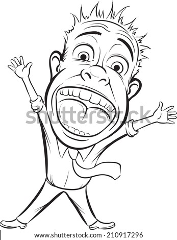 whiteboard drawing - cartoon screaming business person - stock photo