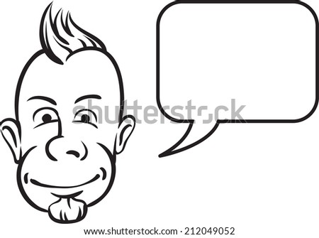 whiteboard drawing - punk face with speech bubble - stock photo