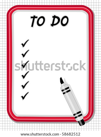 Whiteboard To Do Check List, Marker Pen. Copy space for home, office, school or do it yourself projects. - stock photo