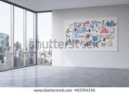 Whiteboard with business sketch in empty office interior with concrete floor, wall and panoramic window with New York city view. 3D Rendering - stock photo