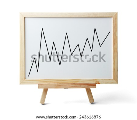 Whiteboard with rising graph is isolated on white background. - stock photo
