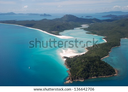 Whitehaven Beach and Hill Inlet, Whitsunday Islands, Australia - stock photo