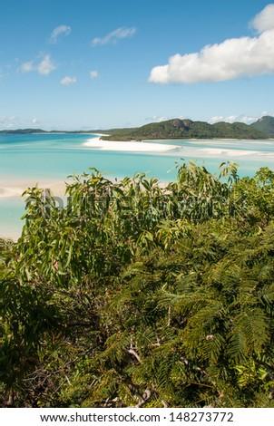 Whitehaven Beach, Queensland - Australia. Hill Inlet. - stock photo
