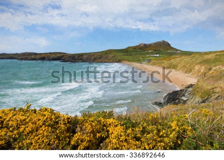 Whitesands Bay beach West Wales UK Pembrokeshire Coast National Park with blue sky and clouds illustration like oil painting