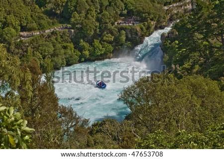 Whitewater at Huka Falls outside Taupo New Zealand - stock photo