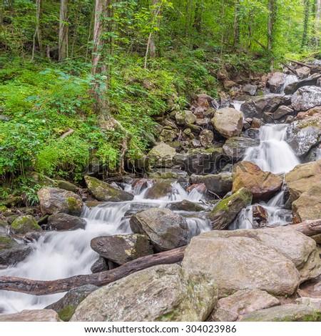 Whitewater flowing down Little Amicaloala Creek, Georgia State Park. - stock photo