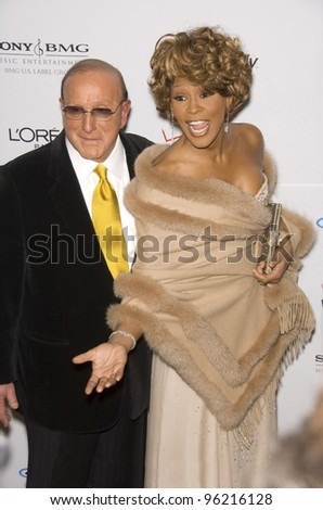 WHITNEY HOUSTON & CLIVE DAVIS at the Clive Davis pre-Grammy Party at the Beverly Hilton Hotel. February 11, 2007 Beverly Hills, CA Picture: Paul Smith / Featureflash - stock photo