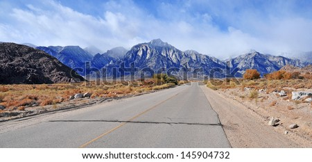 Whitney Portal Road and The Eastern Sierra Mountains, California - stock photo