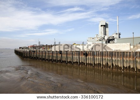 Whitstable in Kent, South East England. Low tide  - stock photo