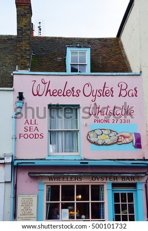Whitstable, United Kingdom -October 1, 2016: Traditional oyster restaurant in Whitstable High Street