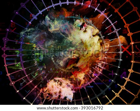 Who Are We series. Background design of surreal human portrait, fractal and mathematical patterns on the subject of philosophy, religion, math, science, technology and education - stock photo
