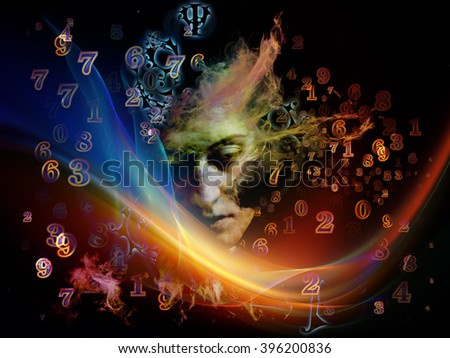 Who Are We series. Composition of  surreal human portrait, fractal and mathematical patterns for projects on philosophy, religion, math, science, technology and education - stock photo