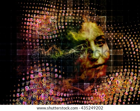 Who Are We series. Composition of surreal human portrait, fractal and mathematical patterns on the subject of philosophy, religion, math, science, technology and education - stock photo