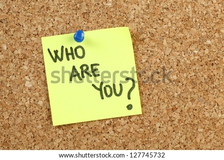 Who are you on yellow paper note - stock photo