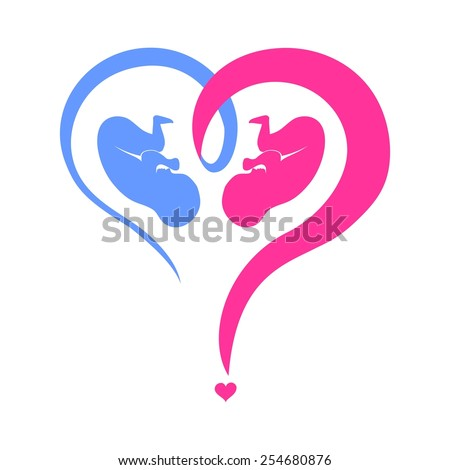 Who have a boy or a girl. Heart question mark isolated on White background. illustration - stock photo