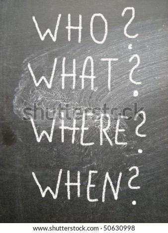 who? what? where? when? - stock photo