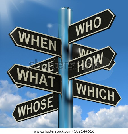 Who What Why When Where Signpost Shows Confusion Brainstorming And Research - stock photo