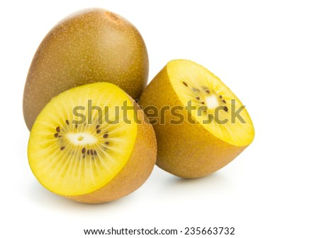 Whole and cut golden kiwifruit/ kiwi (Actinidia chinensis) on white background - stock photo