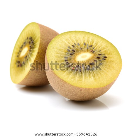 Kiwi fruit cut in half close up - Whole Cut Golden Kiwifruit Kiwi Actinidia Stock Photo