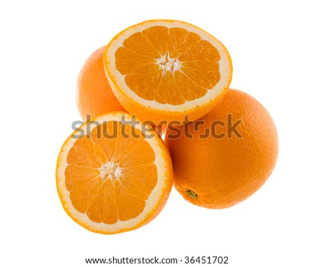 Whole and cut oranges