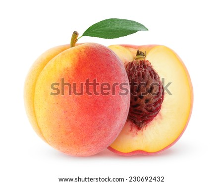 Whole and cut peaches over white background, with clipping path - stock photo