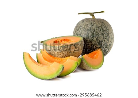 whole and half cut melon with stem on white background