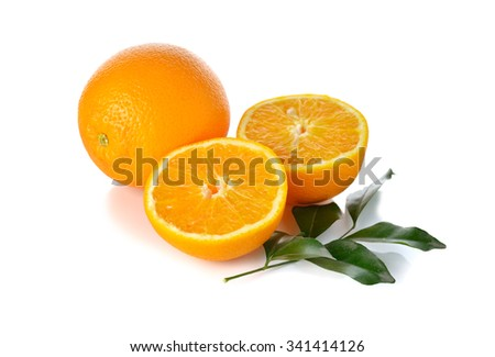 whole and half cut orange on white background - stock photo