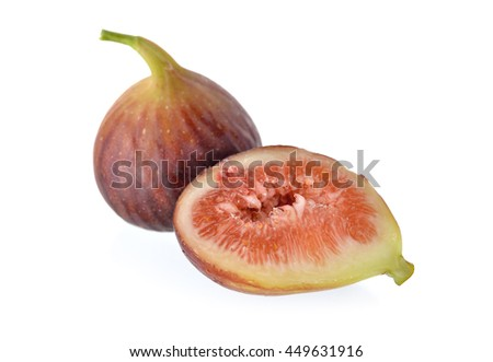 whole and half cut ripe fig with stem on white background - stock photo